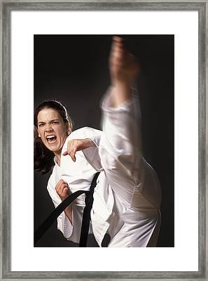 Martial Arts Kick Framed Print by Don Hammond