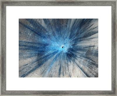 Martian Impact Crater In Mars Framed Print by Celestial Images