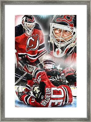 Martin Brodeur Collage Framed Print by Mike Oulton