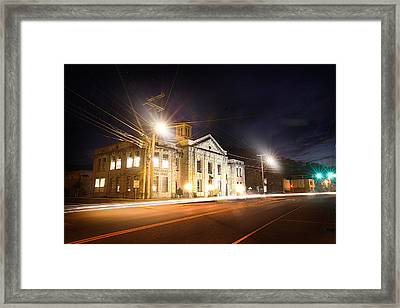 Martin County Courthouse At Night 2 Framed Print by Lisa Sorrell