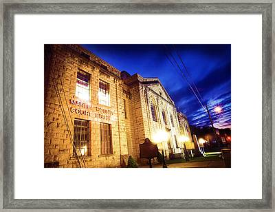 Martin County Courthouse At Night Framed Print by Lisa Sorrell