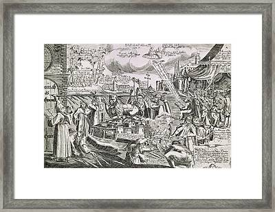 Martin Luther 1483 1546 Writing On The Church Door At Wittenberg In 1517  Framed Print by Swiss School