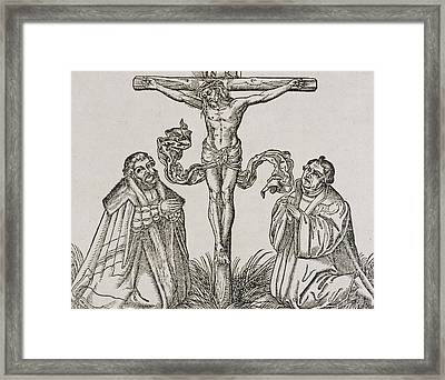 Martin Luther And Frederick IIi Of Saxony Kneeling Before Christ On The Cross Framed Print by German School