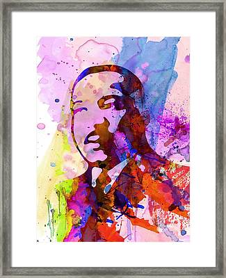 Martin Luther King Jr Watercolor Framed Print by Naxart Studio
