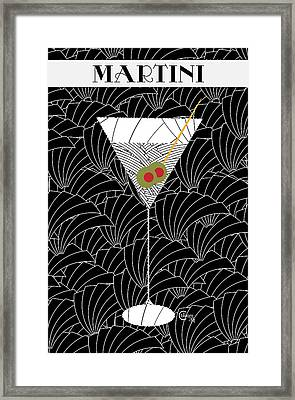 1920s Martini Cocktail Art Deco Swing   Framed Print by Cecely Bloom