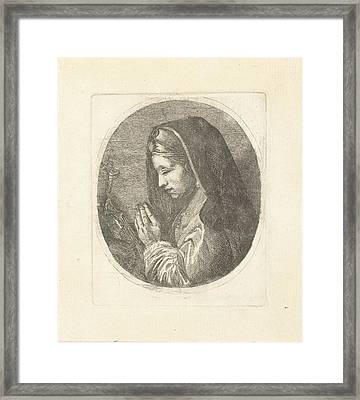 Mary Magdalene In Prayer, Louis Bernard Coclers Framed Print by Louis Bernard Coclers And Anonymous