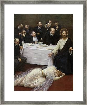 Mary Magdalene In The House Of The Pharisee Framed Print by Jean Beraud