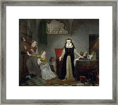Mary Stuart 1542-87 At The Moment Of Leaving For Her Execution, 8th February 1587 Oil On Canvas Framed Print by Philipe Jacques van Bree
