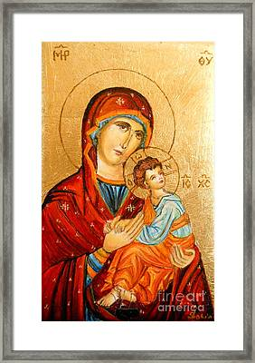 Mary With Jessus R.2 Framed Print by Sorin Apostolescu