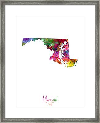 Maryland Map Framed Print by Michael Tompsett