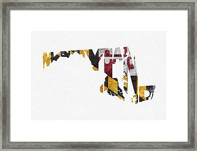 Maryland Typographic Map Flag Framed Print by Ayse Deniz