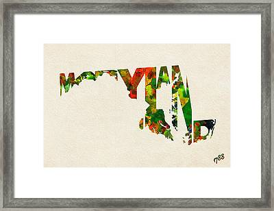 Maryland Typographic Watercolor Map Framed Print by Ayse Deniz