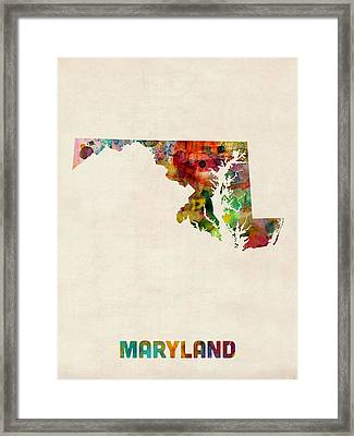 Maryland Watercolor Map Framed Print by Michael Tompsett