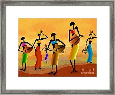 Masai Women Quest For Water Framed Print by Bedros Awak