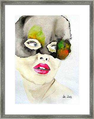 Mask In Watercolor Framed Print by Jacqueline Schreiber
