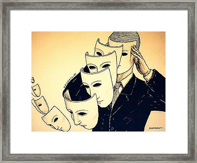 Mask Of Day By Day Framed Print by Paulo Zerbato