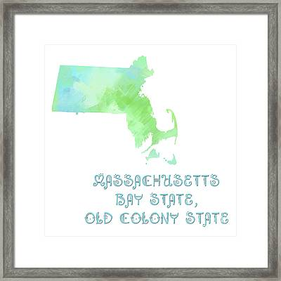 Massachusetts - Bay State - Old Colony State - Map - State Phrase - Geology Framed Print by Andee Design