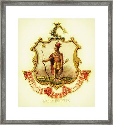 Massachusetts Coat Of Arms - 1876 Framed Print by Mountain Dreams