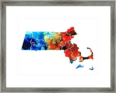 Massachusetts - Map Counties By Sharon Cummings Framed Print by Sharon Cummings
