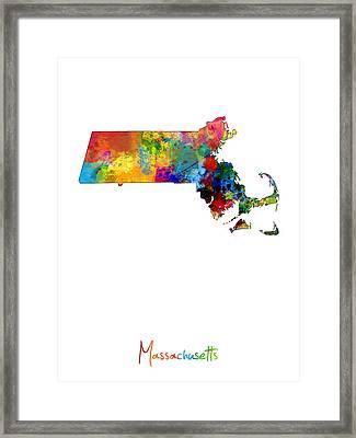 Massachusetts Map Framed Print by Michael Tompsett