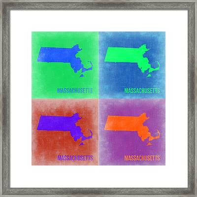 Massachusetts Pop Art Map 2 Framed Print by Naxart Studio