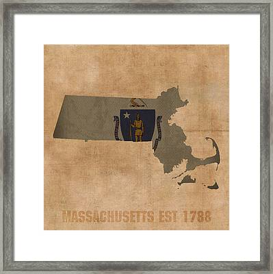 Massachusetts State Flag Map Outline With Founding Date On Worn Parchment Background Framed Print by Design Turnpike