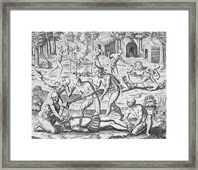 Massacre Of Christian Missionaries Framed Print by Theodore De Bry
