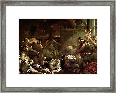 Massacre Of The Innocents Framed Print by Luca Giordano