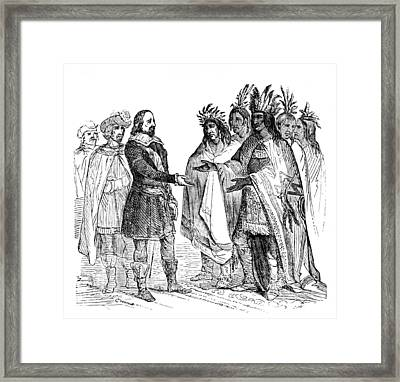 Massasoit Forges Treaty With Pilgrims Framed Print by British Library