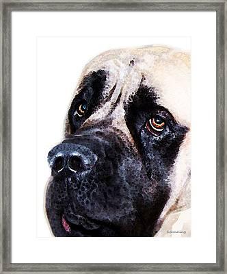 Mastiff Dog Art - Sad Eyes Framed Print by Sharon Cummings