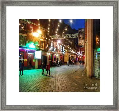 Mathew Street At Night Framed Print by Joan-Violet Stretch