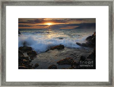 Maui Sunset Spray Framed Print by Mike  Dawson