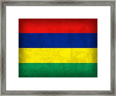 Mauritius Flag Vintage Distressed Finish Framed Print by Design Turnpike
