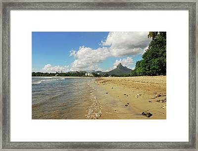 Mauritius, Tamarin, View Of Calm Beach Framed Print by Anthony Asael
