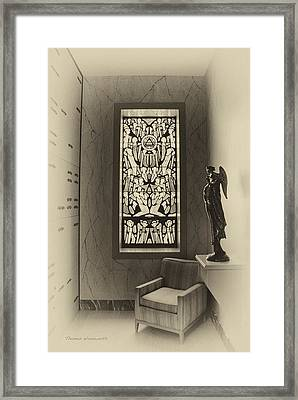 Mausoleum Stained Glass 02 Framed Print by Thomas Woolworth