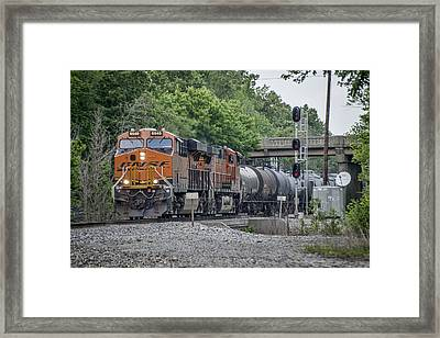 May 21 2014 - Csx Q515 With Bnsf Power At Nortonville Ky Framed Print by Jim Pearson