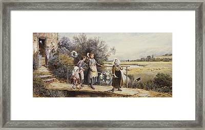 May Day Garlands Framed Print by Myles Birket Foster