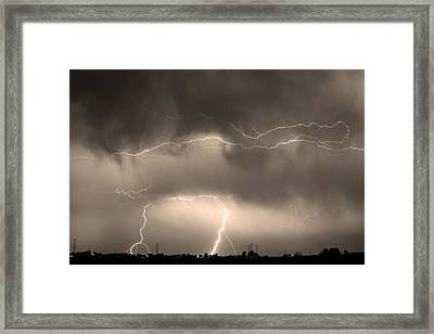 May Showers - Lightning Thunderstorm Sepia 5-10-2011 Framed Print by James BO  Insogna