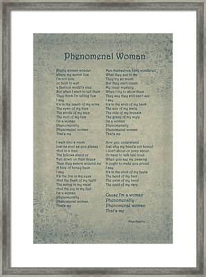 Maya Angelou - Phenomenal Woman Framed Print by Maria Angelica Maira