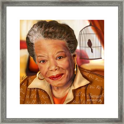 Maya Angelou Rise Of The Song Bird Framed Print by Reggie Duffie