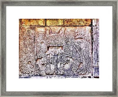 Mayan Hieroglyphic Carving Framed Print by Paul Williams