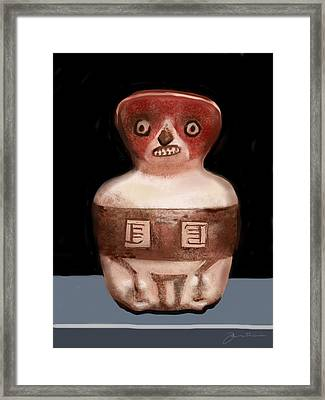 Mayan Whistle Framed Print by Jean Pacheco Ravinski