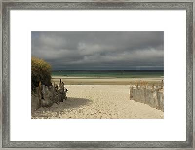 Mayflower Beach Storm Framed Print by Amazing Jules