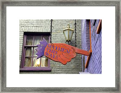 Mayhem This Way Framed Print by Laurie Perry