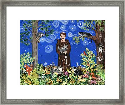 May's St. Francis Framed Print by Sue Betanzos