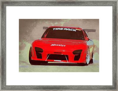 Mazda Rx7 Race Car Pop Art Framed Print by Ernie Echols