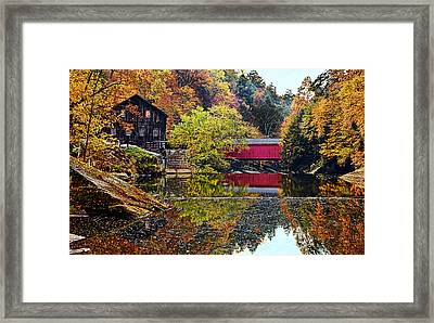Mcconnell's Mill And Covered Bridge Framed Print by Marcia Colelli