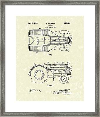 Mccormick Tractor 1939 Patent Art Framed Print by Prior Art Design