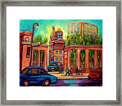 Mcgill University Roddick Gates Montreal Framed Print by Carole Spandau