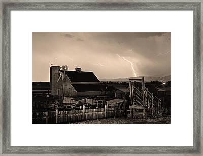 Mcintosh Farm Lightning Sepia Thunderstorm Framed Print by James BO  Insogna